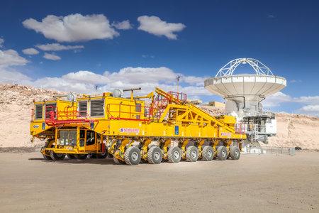 ALMA CAMP, ATACAMA DESERT, CHILE - FEB. 15, 2011: Yellow vehicle for the transportion of radio antennas