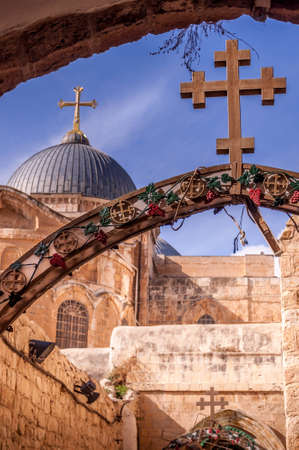 This is the lesser known upper entrance of the Holy Sepulchre in Jerusalem