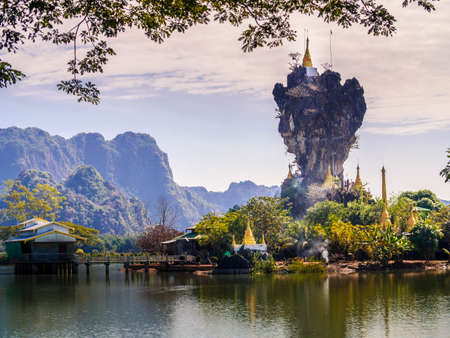 Kyauk Kalap Pagoda near Hpa-An, Myanmar (Burma) Stock Photo - 93296041