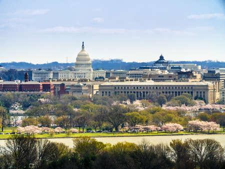 워싱턴 DC의 스카이 라인. 미국 국회 의사당