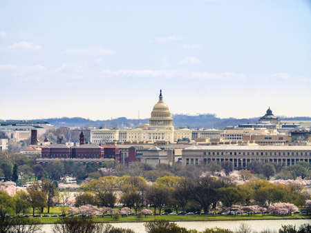 Skyline of Washington DC. with the United States Capitol Foto de archivo