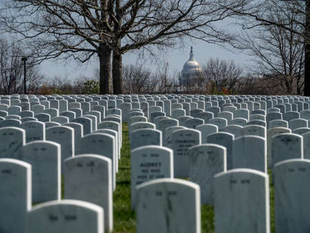 Gravestones on Arlington National Cemetery in Washington DC with the senat building in the background Editorial
