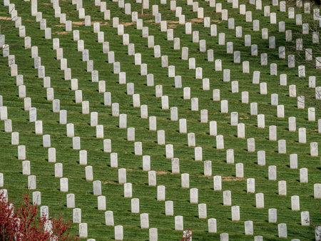 Gravestones on Arlington National Cemetery in Washington DC.