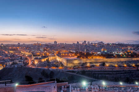 Panoramic view of Jerusalem by night (Israel)