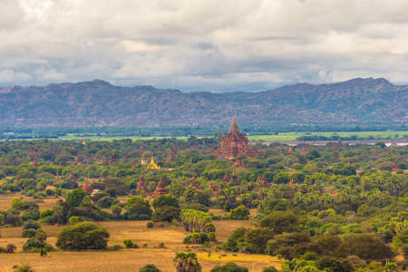 The old ruins in the landscape of Bagan