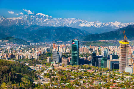 Aerial view of chile's capital with Manquehue in the background on a clear day in Santiago of Chile