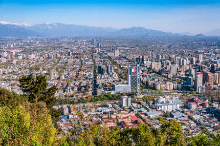 Aerial view of chiles capital with Manquehue in the background on a clear day in Santiago of Chile