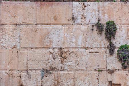Texture of the Wailing Wall aka. Western Wall with israeli flag Stock Photo