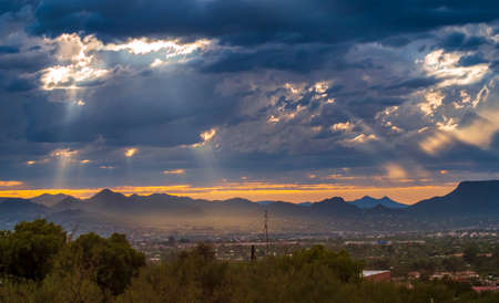 Dusk over suburb of Tucson