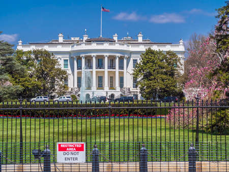 The White House with blue sky background