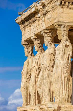 Caryatides, Erechtheion temple Acropolis in Athens, Greece 版權商用圖片