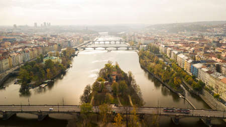 Skyline view panorama of Charles bridge (Karluv Most) with Old Town in Prague. Czech Republic 版權商用圖片