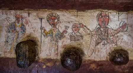 Painting inside Debre Damo Monastery in Tigray region, Ethiopia. Stock Photo