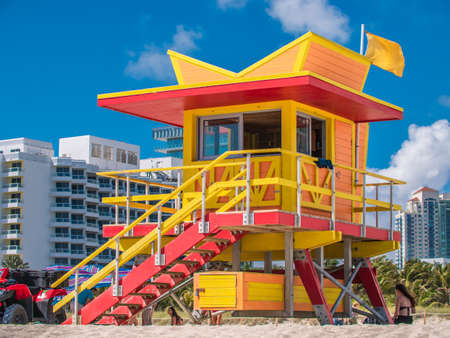 Wooden watch tower in Art deco style at South Beach, Miami Stock Photo