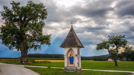 Traditional Austria with dramatic sky