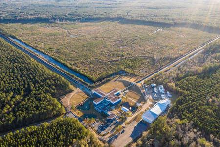 Aerial view of the Advanced LIGO detector in Livingston