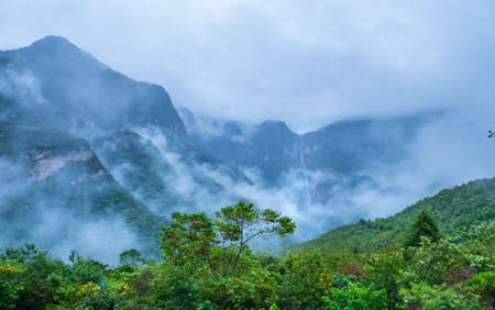 Mystical waft of mist around Gocta waterfall 版權商用圖片