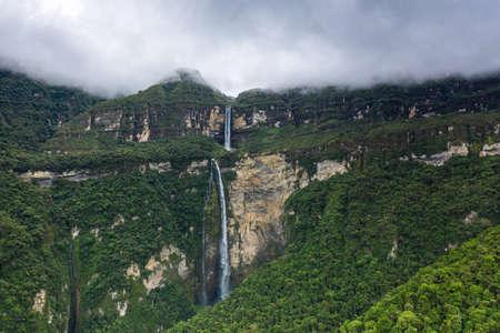 Mystical waft of mist around Gocta waterfall Imagens