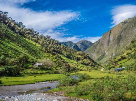 Lush green landscape around the area of Atuen in Peru