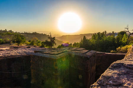 Sunset at monolithic church of Saint George (Bet Giyorgis)