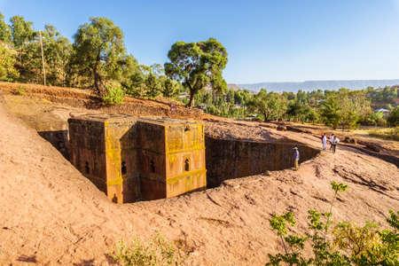 Church of St. George (Bete Giyorgis), Lalibela, Ethiopia 스톡 콘텐츠