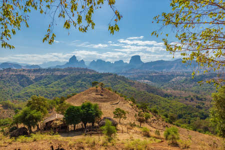 Breathtaking landscape view in the Simien Mountains National Park, Ethiopia Stock Photo