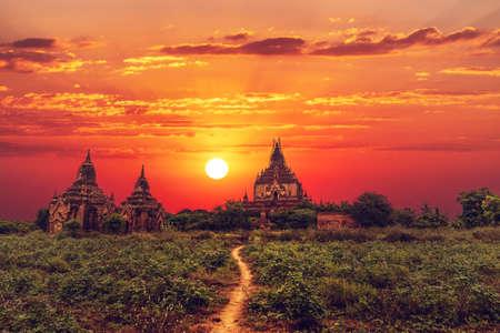 Silhouette of Htilominlo Temple at sunset, Bagan Myanmar.
