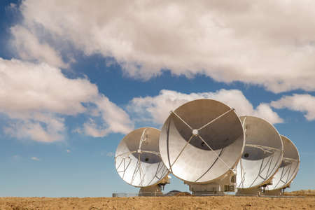 Radio satellite dishes pointed to the sky