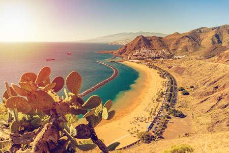 Famous beach and ocean lagoon Playa de las Teresitas, Tenerife