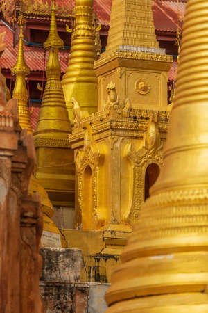 Close Up of pagodas at the Shwe Indein Temple 写真素材