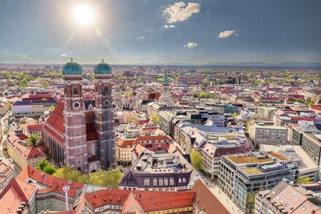 Aerial view on Marienplatz town hall and Frauenkirche in Munich, Germany Reklamní fotografie