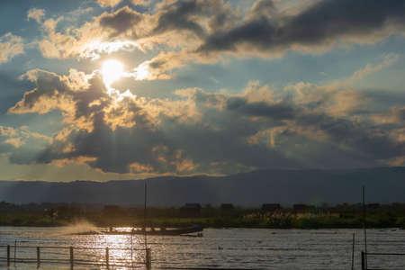 Dramatic sunset at Inle lake, Myanmar