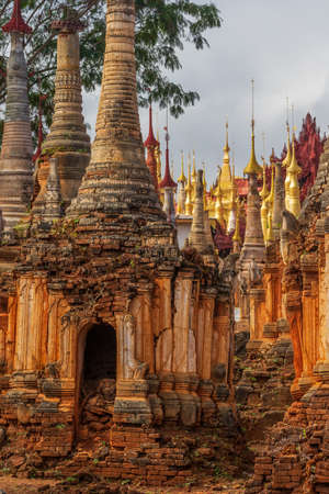 The Shwe Indein burial stupas 写真素材