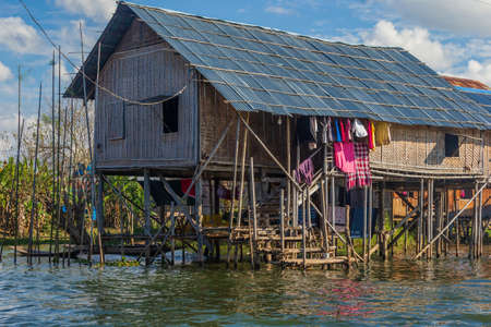 Houses on stilts in the floating villages of Inle Lake, Myanmar