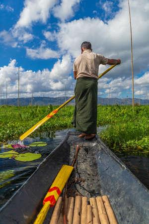 Burmese man at Inle lake, Myanmar
