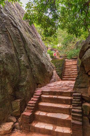 Steps leading to Sigiriya rock fortress in Sri Lanka