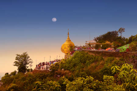 The famous Golden Rock in Myanmar at dawn