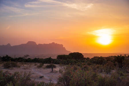 Amazing sunset in the landscape of Gheralta in Tigray, Northern Ethiopia