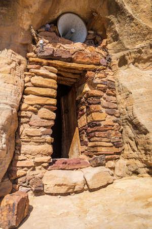 Entrance to the rock hewn Daniel Korkor church Stockfoto