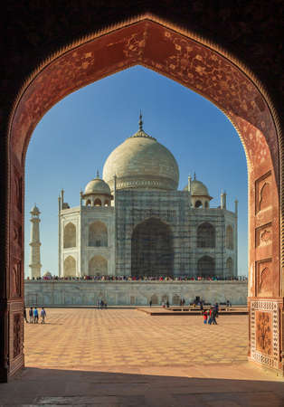 The unique indian Taja Mahal on a sunny day with blue sky 写真素材
