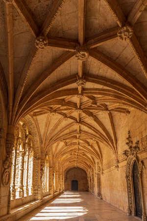 Interior corridor of the Mosteiro Dos Jeronimos, Lisbon, Portugal
