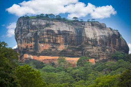 Sigiriya (Lions rock), an ancient rock fortress and with a palace ruin on top Stok Fotoğraf
