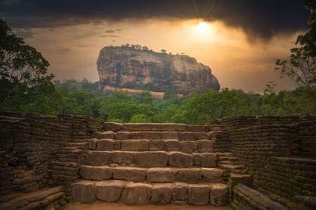 Sigiriya (Lions rock) with a dramatic sunset