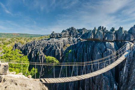 Bridge over a gap at the Tsingy de Bemaraha National Park, Madagascar Imagens