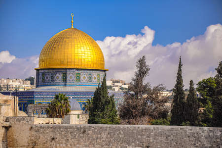Western Wall and Dome of the Rock in the old city of Jerusalem, Israel.