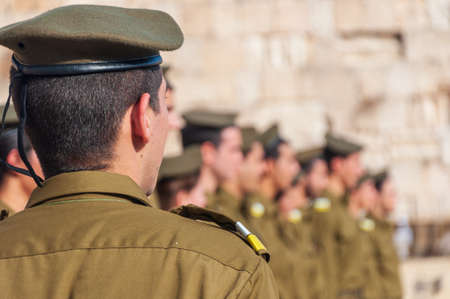Israeli soldiers stand in formation at the Western Wall in the Old City of Jerusalem