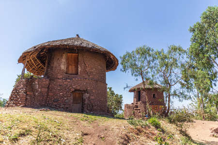 Two stone huts in Lalibela, Ethiopia