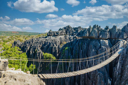 The Tsingy de Bemaraha with the famous suspension bridge