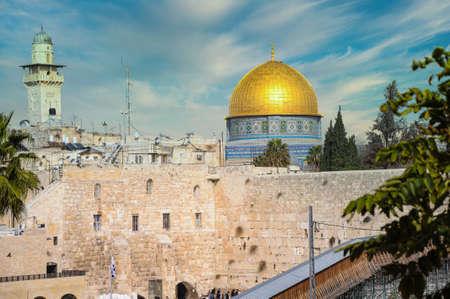 Klagemauer und Felsendom in der Altstadt von Jerusalem, Israel. Standard-Bild