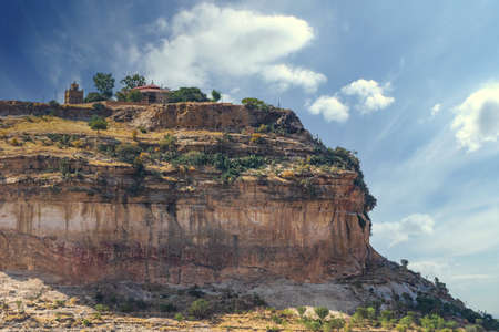 View to the rural surroundings and the hill, on top of which the famous 6-th century Ethiopian Debre Damo Monastery is located in Tigrai region, Ethiopia.